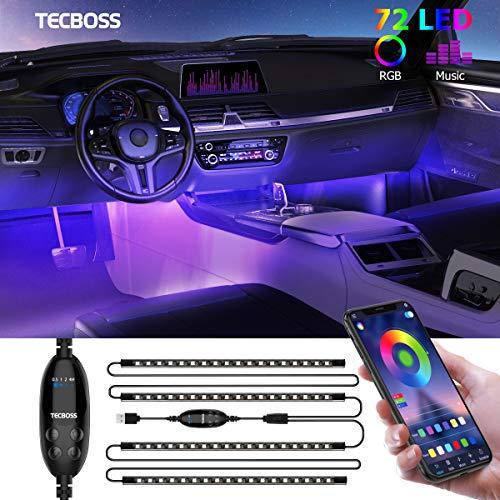 Auto LED Innenbeleuchtung, TECBOSS 4pcs 72 LED Auto LED Strip, RGB Auto Innenraumbeleuchtung mit APP, Wasserdichte Mehrfarbiger Musik Auto Fußraumbeleuchtung für iPhone Android usw.