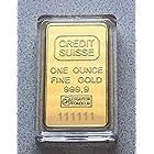 貴重 S/N999999 CREDIT SUISSU クレジットスイス インゴット ゴールドバー 24KGP 金 レプリカ 観賞用 (シリアルナンバー99999)