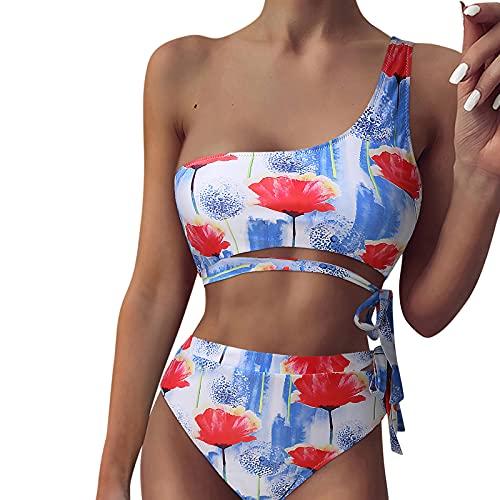 Donna Una Spalla 2 Pezzi Bikini Tankini Con Vita Alta Slip A Vita Alta, Stampa Modello Tropicale Cintura Regolabile Vestiti Estivi Costume Da Bagno Rosso L