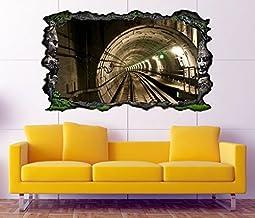 3D muursticker U trein tunnel retro zelfklevende wandafbeelding tattoo woonkamer muur sticker 11M138, muurschildering groo...