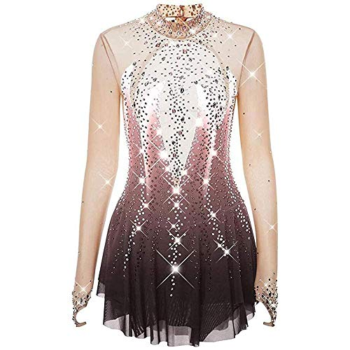 Eiskunstlaufkleid Für Mädchen Frauen Langärmeliger Haken Finger Bloom Gradient Fashion Back Hollow Ice Dancing Performance Kleidung,DustyRose-M