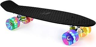 "Merkapa 22"" Complete Skateboard with Colorful LED Light Up Wheels for Beginners"