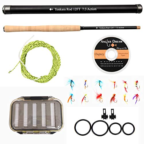 ANGLER DREAM 12FT Tenkara Rod Kit 30T Carbon Fiber Telescopic Fly Fishing Rod Combo with Furled Line Flies