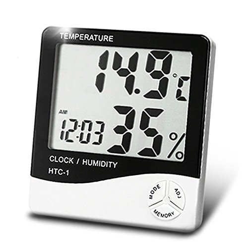 Alfa Mart HTC Digital Display Room Temperature Humidity Meter Thermometer Time And Alarm Clock
