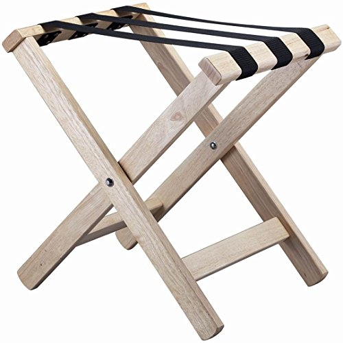 VINN DUNN Compact Wooden Folding Luggage Rack Suitcase Stand With Nylon Webbing Strap,Rubber Wood (Light Wood)