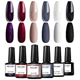 Modelones Gel Nail Polish Set - Red Grey Series 6 Colors Collection Nail Art Gift Box, Soak Off LED Nail Varnish Manicure 0.33 OZ
