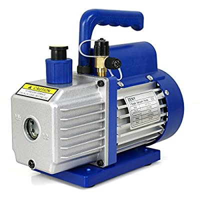 """ZENY 3,5CFM Single-Stage 5 Pa Rotary Vane Economy Vacuum Pump 3 CFM 1/4HP Air Conditioner Refrigerant HVAC Air Tool R410a 1/4"""" Flare Inlet Port, Blue"""