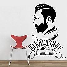 Kjlfow Peluquería Pegatinas de Pared barbería calcomanías para Ventanas barbería Logo Pintura de Pared peluquería decoraci...