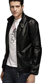PinShang Men Motorcycle Faux Leather Coat Stand Collar Ribbed Hem Slim PU Jacket Overcoat black XL