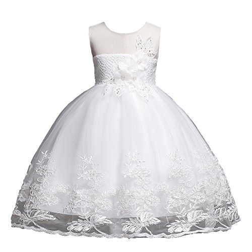 Girl Ball Gown Dresses Sleeveless Size 2 3 Pageant Party Wedding Dress 18-24 Months Lace Tulle Toddler Girl Dresses 3T Princess Wedding White Little Girl Dresses Special Occasion Tops (White 110)