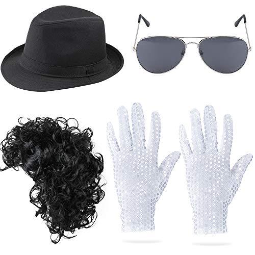 Beelittle 80er Jahre Hip-Pop Rockstar Jazz Kostüm Zubehör Set Fedora Hut lockige Perücke Pailletten Handschuhe und Aviator Sonnenbrille MJ Dance Performance Kit (Kurze Perücke)