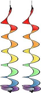QoFina 2 stycken färgglada vindspel vindspinnare tält UV-resistent och väderbeständigt, färgglada, vindspel för trädgård o...