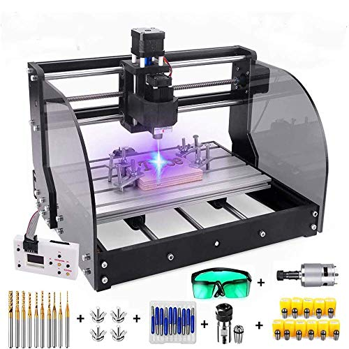 2-in-1 3000mW Engraver CNC 3018 Pro-M Machine,GRBL Control 3 Axis Mini Pcb Milling Wood Router Machine with Offline Controller+ ER11 and 5mm Extension Rod (Working Area 300x180x45mm)