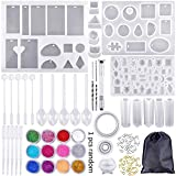 83 Pieces Silicone Casting Molds and Tools Set, DIY Silicone molds Resin Casting for Jewelry Craft Making, with A Black Storage Bag