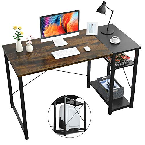 Foxemart Computer Desk with Shelves, 47 inch Sturdy Writing Desk with Grid Drawer, Modern Furniture for Home, Office, Study Room, Bedroom(Vintage Oak Finish)