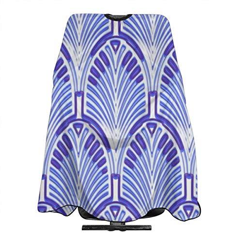 Nouveau Art Deco Tablier de coiffure imperméable pour homme et femme Motif vintage Bleu et blanc 140 x 168 cm