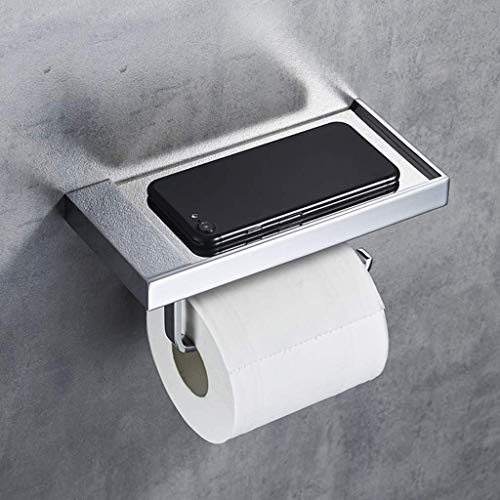 WLVG Soporte de Papel higiénico para baño montado en la Pared con Soporte de Almacenamiento para teléfono móvil Soporte de Rollo de Cobre Antideslizante Antideslizante, taladrado, 20x9.5x6.5cm (C