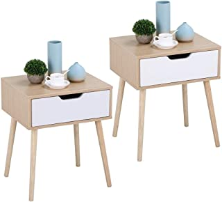 Yaheetech Table de Chevet Design Lot de 2 Tables de Nuit avec Tiroir Scandinave Table Carrée à Café pour Salon Couloir Cha...