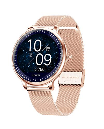 Aliwisdom Smartwatch für Damen Kinder, Wasserdicht Bluetooth Fitness Armbanduhr Sportuhr Aktivitätstracker Fitness Tracker für iOS Android, mit Anruferinnerung und Nachrichtenerinnerung (Roségold)