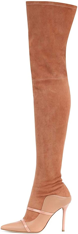 CYMIU damen Fine High Heel Overknee Stiefel Stiletto Pumpe Groe Elegante Splice Braun Winter