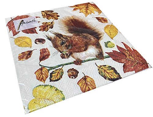 Papier- Servietten Eating Squirrel Eichhörnchen Lunch Party Fest Ca. 33x33cm fuer Herbst Winter Weihnachten