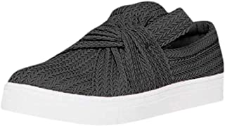 ★QueenBB★ Women's Loafers Slip On Flatform Top Ruched Bowknot Fashion Flat Sneaker Driving Shoes Seaport Penny Loafer