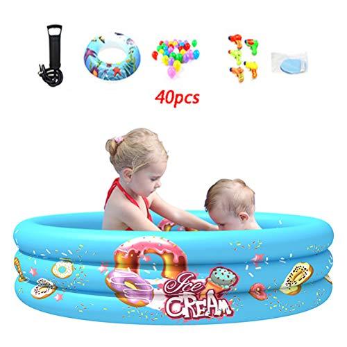 Zhyaj Redonda Piscinas Portatil Hinchables Infantil PVC Piscinas para Bebe Indoor Bañera Hinchable,Blue 1b,90 * 30cm