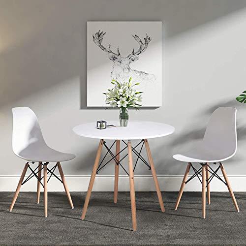 H.J WeDoo Skandinavien Esszimmergruppe mit Rund Esstisch und 2 Essstühlen Geeignet für Esszimmer Küche Wohnzimmer, Weiß