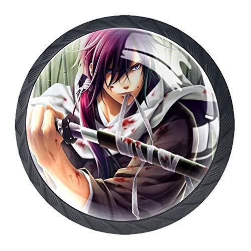 Poignée de tiroir Épée de garçon d'anime Bouton de Meuble Enfant cristal Poignee de Meuble Décoration Porte Meuble Tiroir 4pcs 3.5×2.8CM
