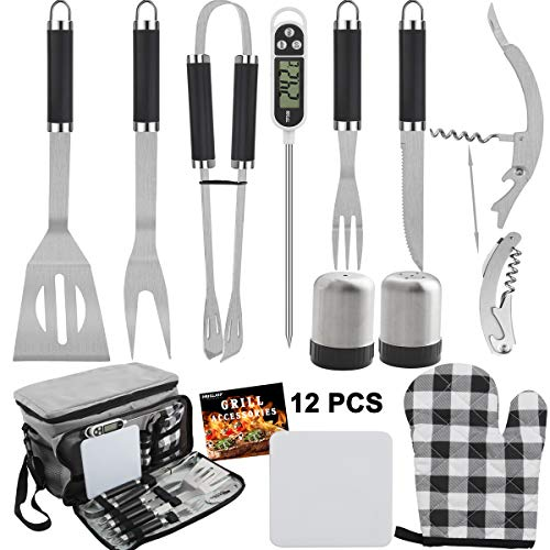 Grilljoy BBQ Grill Tools Set with Grey Insulated Cooler Bag - All-in-one Barbecue Picnic Cooler Bag - 12pcs Stainless Steel Camping Utensil Kit - Perfect Gifts for Men