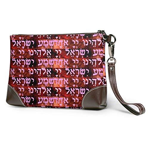 Ahdyr Damen Leder Clutch Judaica Shema Kiddusch Wein Leder Wristlet Clutch Tasche Reißverschluss Handtaschen Geldbörsen für Frauen Telefon Brieftaschen mit Riemen Kartenfächer