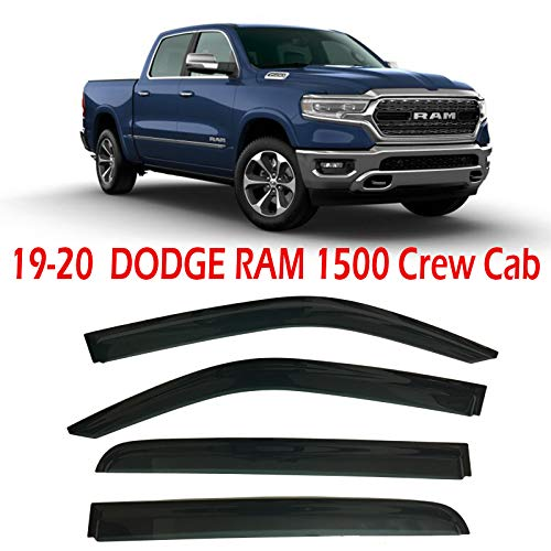 Optimal Co Smoke Tinted Side Window Vent Visor Deflectors Rain Guards fit for 2019-2020 Dodge Ram 1500 Crew Cab Only - 4 Piece Set