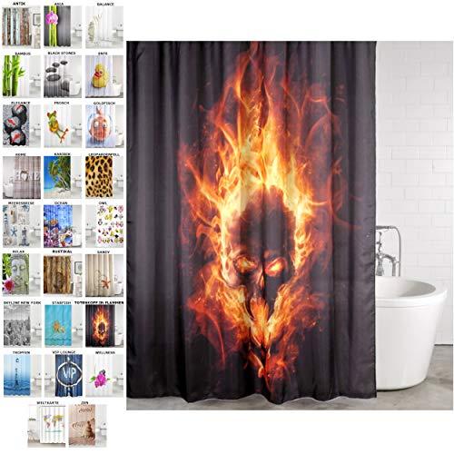 Sanilo Duschvorhang, viele schöne Duschvorhänge zur Auswahl, hochwertige Qualität, inkl. 12 Ringe, wasserdicht, Anti-Schimmel-Effekt (Totenkopf in Flammen, 180 x 200 cm)