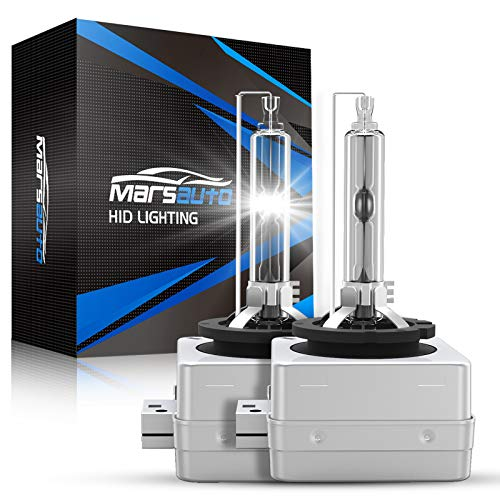 Marsauto D1S HID Bulb 5000K Xenon HID Replacement Bulb Diamond White with Gloves 35W for 12V Cars High Low Beam 2Pack