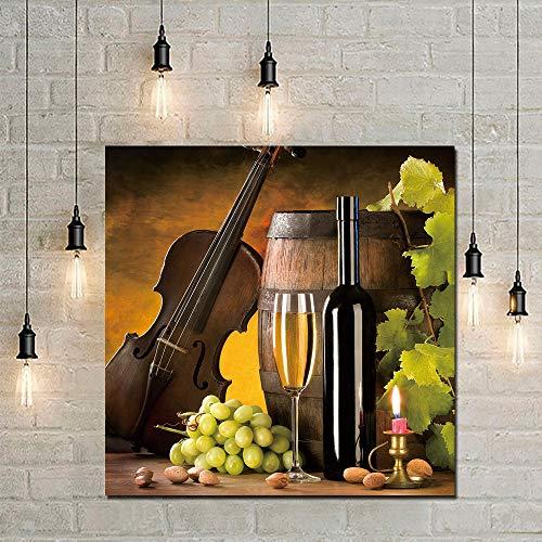 zgwxp77 Poster Leinwand Malerei Rotwein Champagner Gitarre Leinwanddruck dekorative Malerei