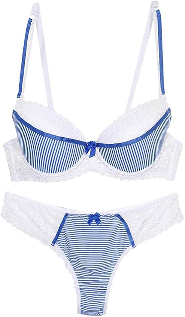 Women Lace Stripes Push-up Bra and Panty Set Petite Size Underwire Everyday Bras