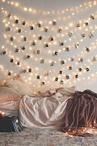 Photo Clip String Lights, 17Ft - String Light with Clips 50 LED Fairy String Lights with 50 Clear Clips for Hanging Pictures, Photo Hanging Clips String Dorm Bedroom Wall Decor Wedding Decorations