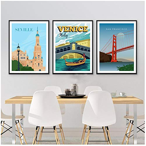 Zhaoyangeng San Francisco Sevilla Model Stad Landschap Poster Vintage Wall Art Canvas Schilderen Nordic Prints Woonkamer Decor- 50X70Cmx3 Unframed