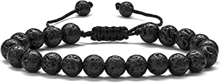 Lava Rock Bracelet, Beaded Bracelets for Men Women, 8mm Tiger Eye Bead Bracelet Adjustable Natural Lava Rock Stone Essenti...