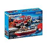 Playmobil 70054 City Action - Set véhicule et Bateau de Pompiers - Multicolore