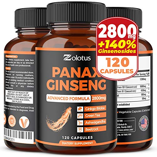 Korean Red Panax Ginseng + Ginkgo Biloba, 2800mg Highest Potency with Ashwagandha, Beetroot, Green Tea Extract, Boost Energy, Mood, Focused Strength, Enhanced Stamina Performance, 120 Capsules