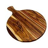 3BROS | TABLA DE MADERA TECA REDONDA PARA PICAR, CORTAR Y SERVIR - ø 34cm X 2cm con mango de 10cm - Excelente para carnes, quesos y botanas.