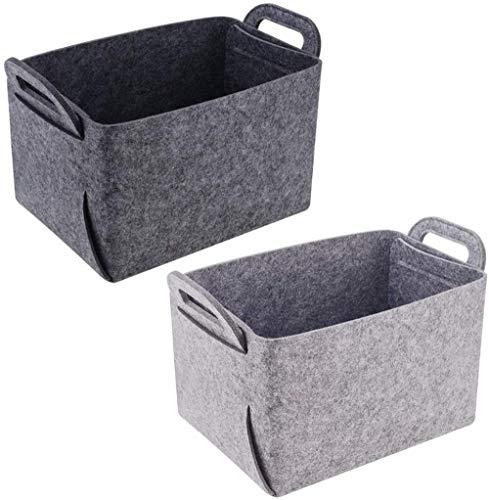 2 confezioni cesto portaoggetti organizer con manicipieghevole scatola portaoggetti in feltro per casa ufficio armadio giocattoli vestiti camera dei bambini vivaio (grigio scuro grigiochiaro)