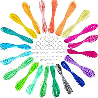 SUBANG 60 Colors 600 Feet Plastic Lacing Cord Plastic Gimp Ropes for Jewelry Making with 60 Pieces Snap Clip Hooks Keychain Ring Clips