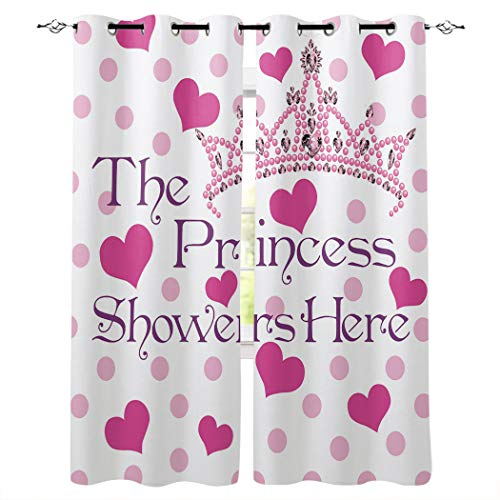 "Blackout Curtains Room Darkening Thermal Insulated Grommet Window Treatment Pair for Bedroom Living Room Nursery,Pink Crown The Princess Showers Here 40"" x 63"" Each Panel, Set of 2"