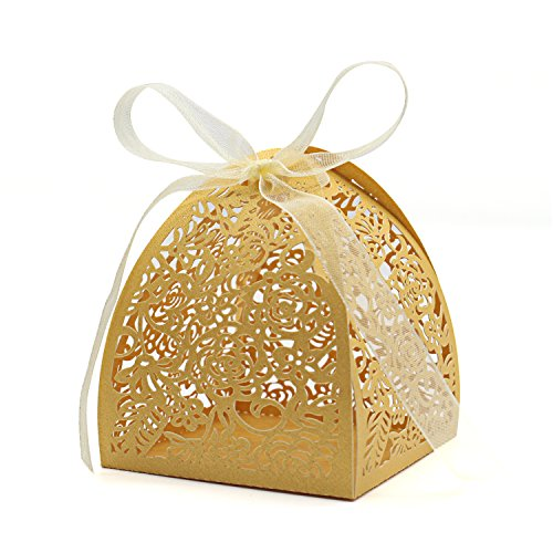 "KEIVA Pack of 100 Laser Cut Rose Candy Boxes, Favor Boxes 2.5""x 2.5""x 3.1"", Gift Boxes for Bridal Shower Anniverary Birthday Party Wedding Favor (100,Gold)"