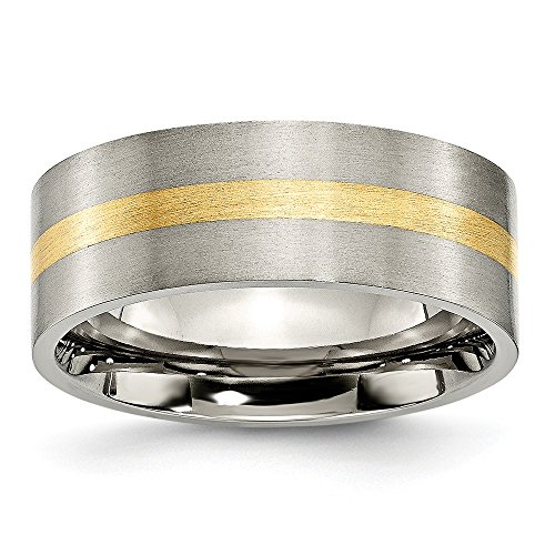 ICE CARATS Titanium Flat 14k Yellow Inlay 8mm Brushed Wedding Ring Band Size 10.50 Precious Metal Fine Jewelry for Women Gifts for Her