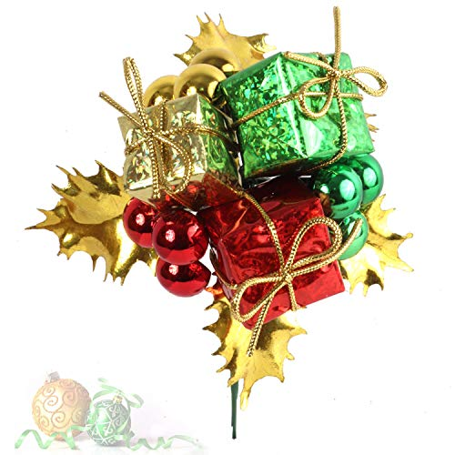 Larksilk Gold Leaf and Christmas Ball Pick with Decorative Gift Boxes, Handmade, Christmas Tree and Wreath Ornament, Winter, Xmas Holiday Décor, Multi-Color, 12-Pack