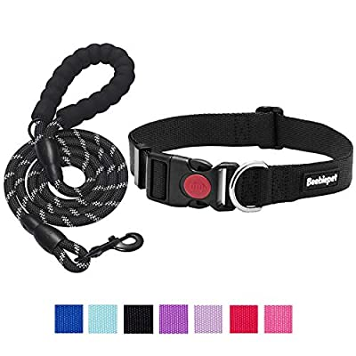 """beebiepet Classic Nylon Dog Collar with Quick Release Buckle Adjustable Dog Collars for Small Medium Large Dogs with a Free 5 ft Matching Dog Leash (L Neck 17""""-26"""", Black)"""