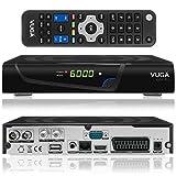 Vuga Combo Full HDTV H.265 digitaler Satelliten DVB-C/T2 Receiver inkl. Wlan Stick (IPTV, Apps, DVB-S2, HDMI, SCART, LAN, USB 2.0, Full HD 1080p) Schwarz